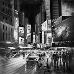Ville grise achalandée de nuit
