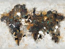 Abstract world map with typography