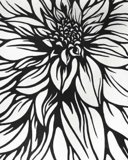 Dahlia flower outline style