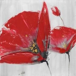 Three red flowers on gray background