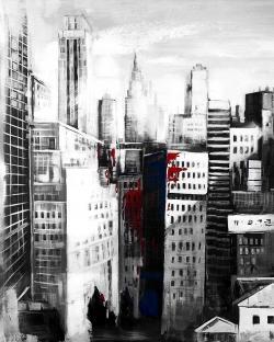 White city with paint splash