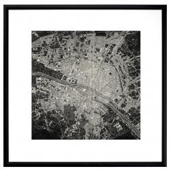Black and white city satellite view