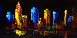 Colorful buildings on a dark background