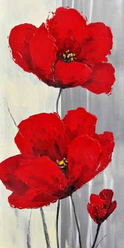 Red flowers on a gray background