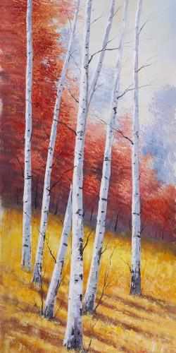 Fall landscape with birches