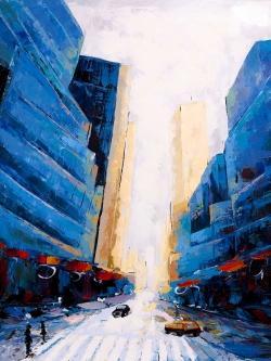 Blue asymmetrical street