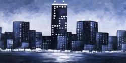 Dark blue cityscape