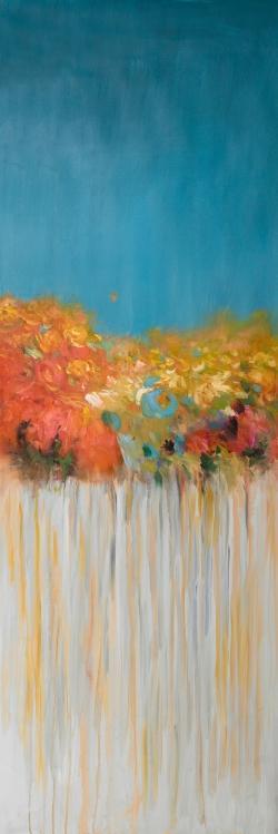 Bouquet de fleurs abstraites sur fond gris