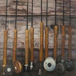 Fishing rods on wood