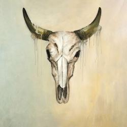 Color fading bull skull