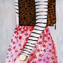 Femme à la mode avec un sac léopard