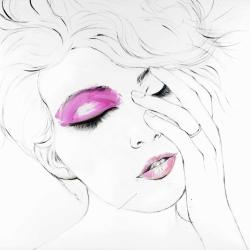 Woman portrait with pink makeup
