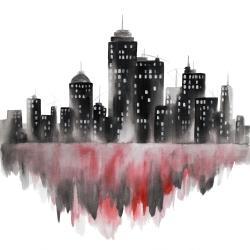 Red watercolor cityscape