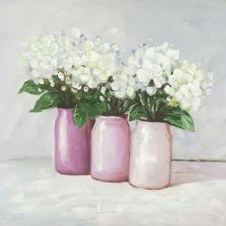 Hydrangea flowers in pink vases
