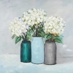 Hydrangea flowers in blue vases