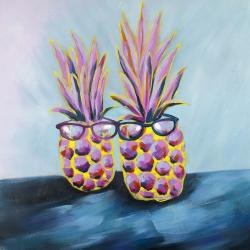 Funny pineapples with sunglasses