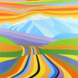 Route de montagne multicolore