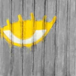 Yellow eye graffiti on a container