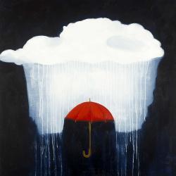Umbrella under heavy rain