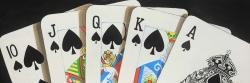 Card game spades royal flush closeup