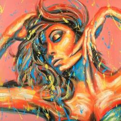 Sensual tanned lady with paint splash