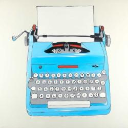 Blue typewritter machine
