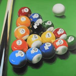 Pool table with ball formation