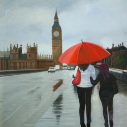 British under umbrella in front of the big ben