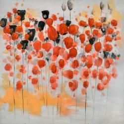 Champ de fleurs ronde rouges abstraites