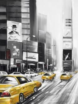Times square and yellow taxis