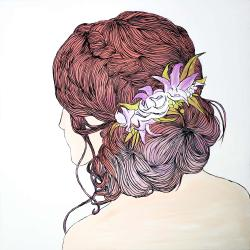 Woman from behind with flowers