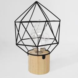 Lampe de métal noir à base de bois