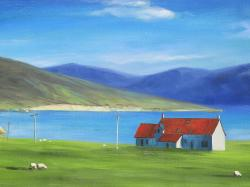 Scottish highlands with a little red roof house