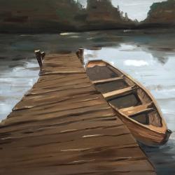 Lake, dock and boat