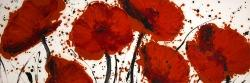 Abstract paint splash red flowers
