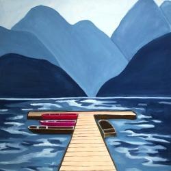 Lake, quai & mountains