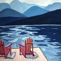 Lake, dock, mountains & chairs