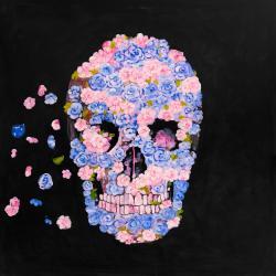 Skull of flowers in flight