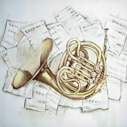 Horn on music sheet