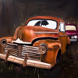 Old car crash by night