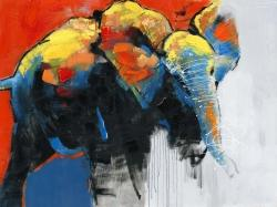 Colorful abstract moving elephant