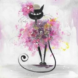 Cartoon cat with pink flowers