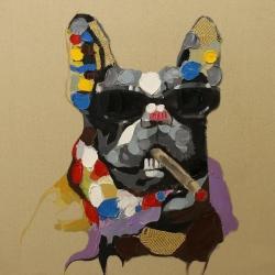 Abstract smoking dog