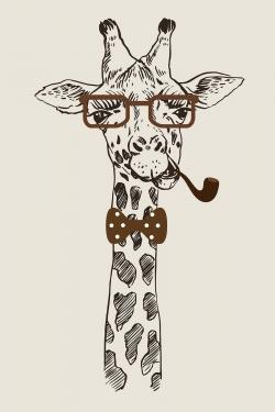 Funny giraffe with a pipe