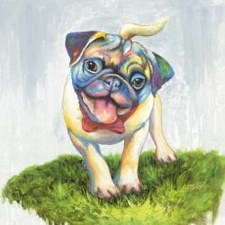 Colorful smiling pug