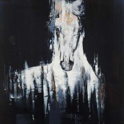 Abstract white horse on black background
