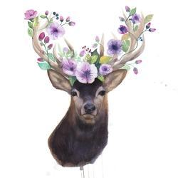 Roe deer head with flowers