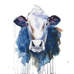 Watercolor grumpy cow