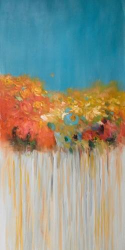 Bouquet de fleurs abstraites sur fond bleu