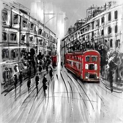 Black and white street with red bus